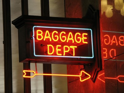 Baggage check- in inside Union Station in Portland, Oregon, USA
