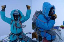 Arnot (L) and Hahn (R) on the summit of Mt. Everest, 2009