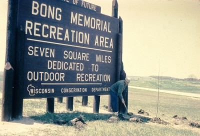 Sign at the entrance of Richard Bong Recreation Area, circa 1960
