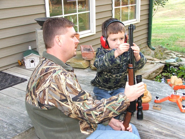 The first experiences with firearms should be fun and with the right gun. It's important the new shooter participate fully in the event. Kevin Frazier and Dylan prepare to fire Dylan's first shots. Since that day, Dylan has gotten at least one deer per season.