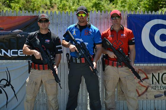 Currently in the lead after round one of the Colt 3-Man 3-Gun Championship are team members Rob Romero, Clint Upchurch and Jansen Jones (left to right).