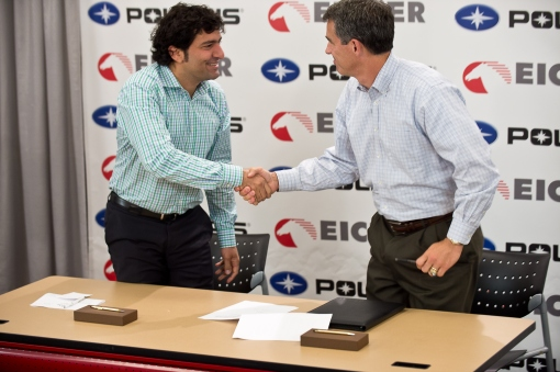 Polaris Industries Inc. CEO Scott Wine (right) and Eicher Motors Limited CEO and Managing Director Siddhartha Lal (left) happily shake hands after signing an agreement for their companies to enter into a joint venture. Both men expressed great excitement about the potential of this new joint venture, in which the companies will cooperatively develop new products for India and other emerging markets.
