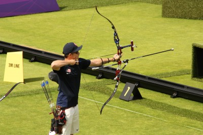 Jake Kaminski shoots his recurve at the 2012 Olympics.