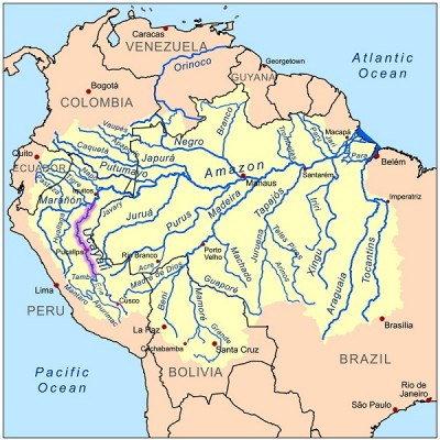 Map of the Amazon Basin. The Ucayali River, where du Plessis was attacked, is highlighted.