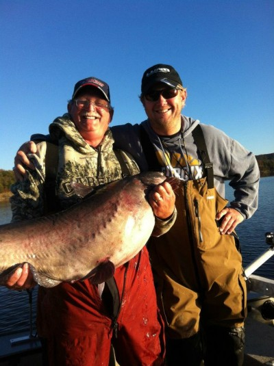 John Jamison and Noel Vick with Noel's first 50lb Blue Cat