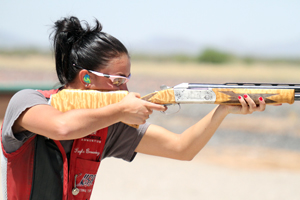 Browning takes aim during the U.S. Olympic Team Trials for Shotgun in Tucson, Ariz.