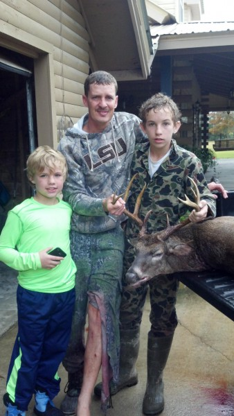 From left to right, Dawson, Chad and Gavin Hebert pose with the deer. Photo courtesy of Chad Hebert.