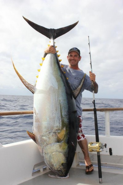 Two massive yellowfin tuna catches competing for world for Does tuna fish have scales