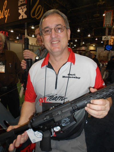 Team Hornaday's Carl Bernosky checks out the new Colt Competition Rifle Pro Model in .308
