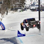 Ricky Johnson drove his Pro-4 race truck on the ski trails of Mount Snow in West Dover, Vermont during the Red Bull Frozen Rush.