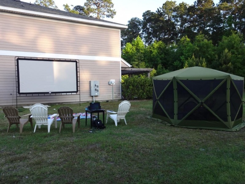 Set up of the Big Screen is complete in less than 10 minutes. Tucked next to the building, the 144-inch screen is nice and secure. Now…all they need for movie night outdoors is dark.