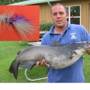 Athens resident Bryan Smith, a volunteer at the Texas Freshwater Fisheries Center, caught the new fly rod state record channel catfish from the Center's casting pond on May 24.