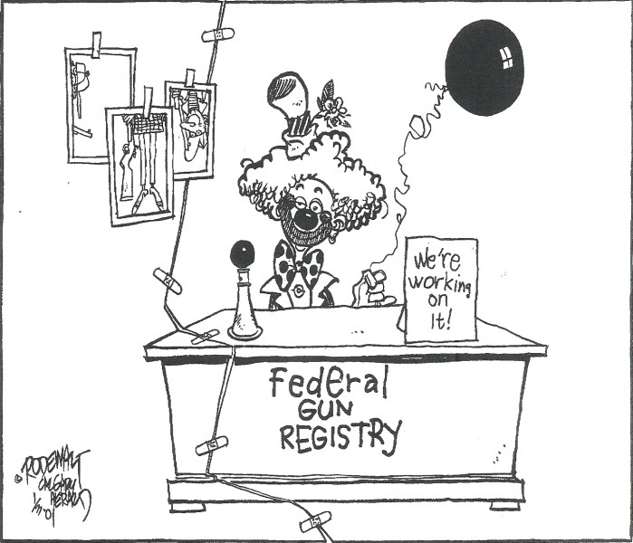 A cartoon made on behalf of opponents of the Canadian Firearms Registry. The Registry has been much maligned for being ineffective, incomplete, and terribly expensive.