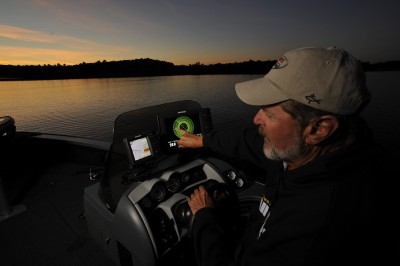 Al Lindner points to a walleye revealed by Humminbird 360 Imaging.