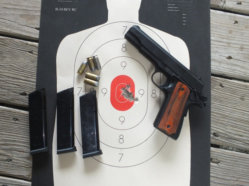 This group from the ZIG 1911 was shot at ten yards with reloaded cast bullets, standing unsupported, with crude service pistol sights. I rarely shoot much better than this, even with precision pistols.