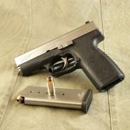 A Kahr P45 semiautomatic pistol.