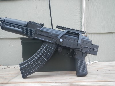 The SAM7SF with stock folded and KV-04S rail attached.