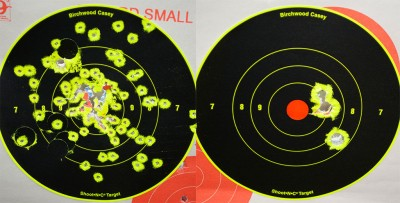 No. 6 shot on the left and a three-pellet 00 buck load on the right. Both shot from seven yards.
