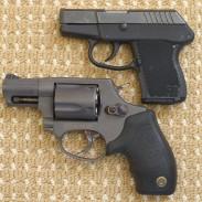 A Taurus Model 85T Revolver and Kel-Tec P3AT.