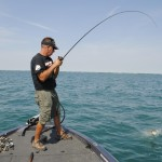 Marcel Veenstra battles a Lake St. Clair smallmouth.