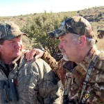 The author (right) with Johnny from Johnny Vivier Safaris in pursuit of a black giraffe.