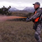Chris Boddington demonstrating the use of bear spray.