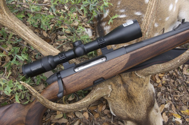 The .270 SM 12 rifle the author used to fell the buck resting in the animal's antlers.