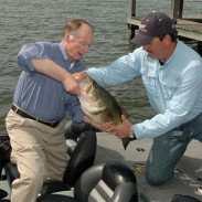 During the unveiling of the Alabama Bass Trail last year at Lake Guntersville, Governor Robert Bentley showed off this huge, 12-pound bass with the help of fishing guide Mike Carter.