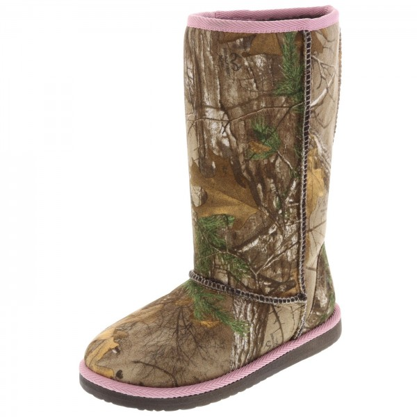 Payless offers girls camo boots, as well as clogs and moccasins.