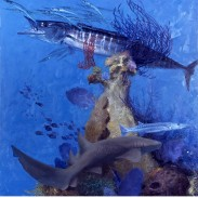 "WAHOO, CUDA AND SHARK by Stanley Meltzoff, finish, oil on board, 32""x32"", ca. 2003"