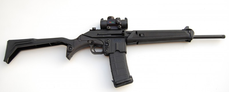 The Kel-Tec SU-16C, seen here with a 30-round PMAG and Truglo sight, is a lightweight and unique rifle chambered in 5.56 NATO/.223 Remington.
