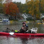 Cameron Simot prepares to release a bluegill that didn't quite measure up enough to be counted in the Gull Lake Marine Kayak Tournament held in October. Cameron finished second in the contest, topping a field of mostly older and more experienced kayak anglers.