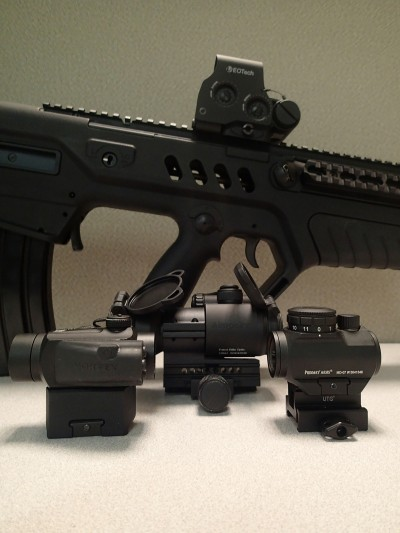 Though my Tavor currently sports an EOTech, it once mounted a Vortex SPARC (left), Aimpoint PRO (center), and Primary Arms MD-07 (right). All performed admirably.