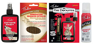 Tink's products include Coyote Mist Predator Lure, Predator Smokin' Sticks, The Trickster Rabbit Mist / Screamin' Cottontail Call Combo, or the latest Hot Shot Predator Mist.