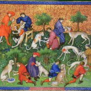 Book of the Hunt by Gaston Phoebus shows Medieval European hunters taming and training dogs.