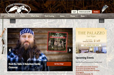 The new Duck Commander website at duckcommander.com.