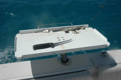 Saltwater fishing often involves cutting bait, so a portable bait board and knife will come in handy.