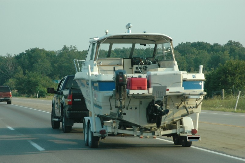 Heading south from the Midwest for a winter fishing vacation, this sweet-water angler is ready for saltwater action, with a backup kicker motor and a big cooler for his catch.