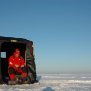 "Portable ice fishing shelters or ""shanties"" are welcome when conditions get windy and/or especially frigid."