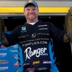 Shaye Baker of Alabama maintains the lead at the Bassmaster Classic Wild Card presented by Star Tron on Lake Okeechobee in Florida..