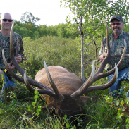 Brad Penas (left) and hunting companion Marty Lieberg pose with their trophy elk.