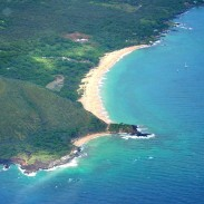 An aerial view of Little Beach in Makena State Park, near where the shark attack took place.