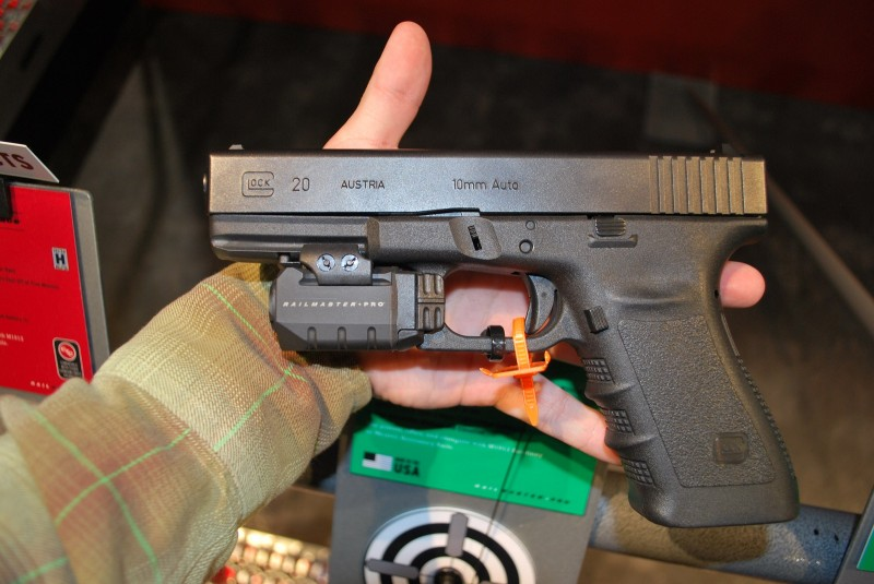 A Crimson Trace Rail Master Pro CMR-204 mounted on a Glock 20.