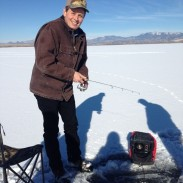 Rep. Steve Daines ice fishes near Ducks Unlimited member Rob Hazelwood's home in Montana.