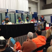 "Crappie fishing pro Kyle Schoenherr answers a question during an ""Ask the Pros"" panel on crappie angling that included, from left to right, Phil Rambo, Schoenherr, Ronnie Capps, and Russ Bailey. Image by Emily Olesh."