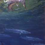 "Bonefish 16: BETWEEN THE BOAT AND THE CUDA by Stanley Meltzoff, 41""x25"", 1972."