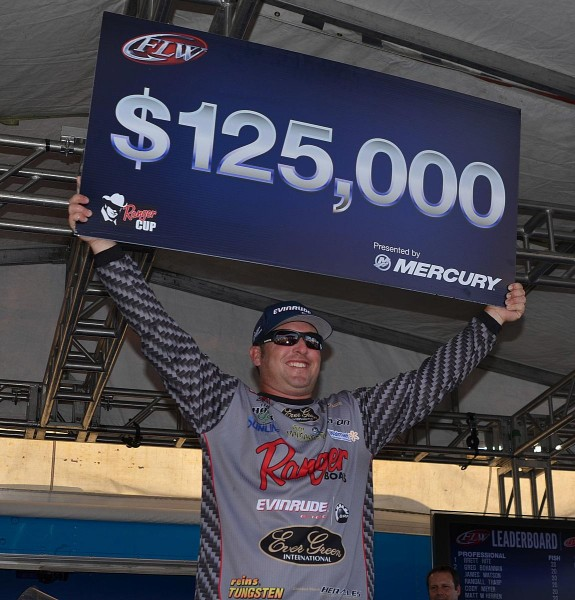 For winning the 2014 FLW Tour event on Lake Okeechobee, Brett Hite earned $125,000.
