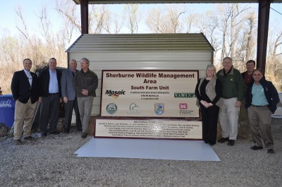 Partners gathered at Sherburne WMA to celebrate the project which increases hunting opportunity.