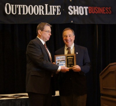 Bass Pro Shops receives and award from NSSF for chain of the year.