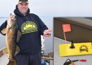 Nick DeShano, who followed in his father's footsteps and is now leading Off Shore Tackle and its innovative trolling aids, holds up a giant walleye.